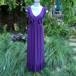 Isadora Collection Dresses - ISADORA COLLECTION Purple Ruffle Maxi Dress Sz M